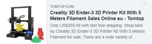 具有5米长丝的Creality 3D Ender-3 3D打印机套件价格:$ 154.99从欧盟仓库交付,免费送货