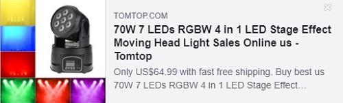 70W 7 LED RGBW 4 in 1 LED 무대 효과 이동 헤드 라이트 가격 : $ 44.99 미국 창고에서 배달, 무료 배송