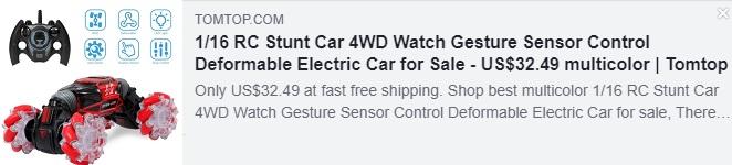1/16 RC 스턴트 자동차 4WD 시계 제스처 센서 제어 변형 가능한 전기 자동차 가격 : $ 32.49